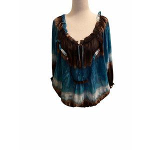 Violet + Claire Top Size Large Brown Blue Boho Peasant Sheer Blouse NWOT